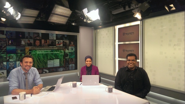 "On the set of Al-Jazeera English ""The Stream"""