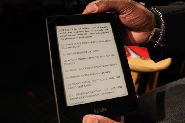 "My Kindle ""notepad"" for Bezos interview. Photo by Scott Macklin"