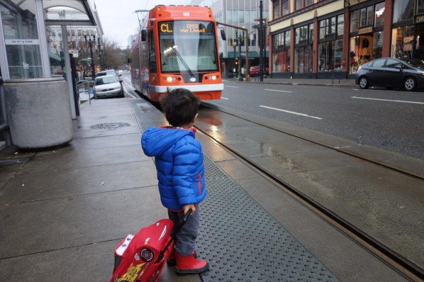 Waiting for the Portland streetcar