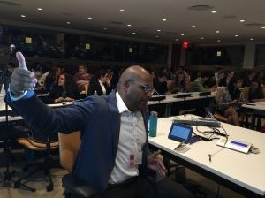 Moderating a debate at the UN General Assembly for the Millennium Campus Network